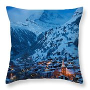 Zermatt - Winter's Night Throw Pillow by Brian Jannsen