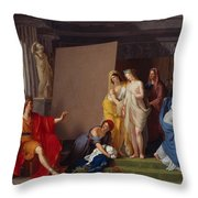 Zeuxis Choosing His Models For The Image Of Helen From Among The Girls Of Croton Throw Pillow