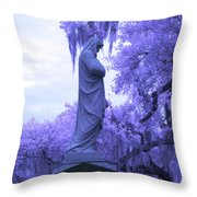 Ziba King Memorial Statue Side View Florida Usa Near Infrared Throw Pillow