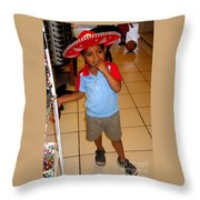 Zihuatanjo Boy In Red Hat Throw Pillow
