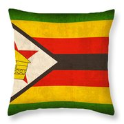 Zimbabwe Flag Distressed Vintage Finish Throw Pillow by Design Turnpike