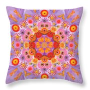 Zinna Flower Mandala Throw Pillow