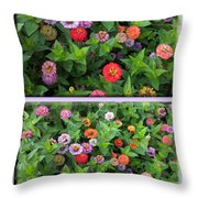 Zinnias 4 Panel Vertical Composite Throw Pillow