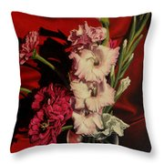 Zinnias And Gladiolas Throw Pillow