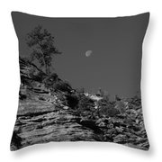 Zion National Park And Moon In Black And White Throw Pillow
