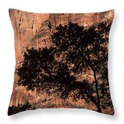 Zion National Park Canyon Walls With Silhouetted Trees In Front  Throw Pillow