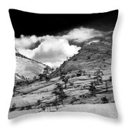 Zion National Park In Black And White Throw Pillow