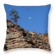 Zion National Park Moonrise Throw Pillow