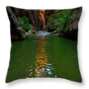 Zion Reflections - The Narrows At Zion National Park. Throw Pillow