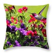 Zipping Through The Garden Throw Pillow