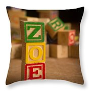Zoe - Alphabet Blocks Throw Pillow