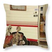 Skeleton Family Vacation Throw Pillow