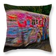Zooming Graffiti Bus Throw Pillow
