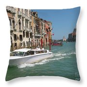 Zooming On The Canals Of Venice Throw Pillow