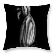 Zucchini Flower In Black And White Throw Pillow