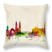 Zurich Switzerland Skyline Throw Pillow by Michael Tompsett