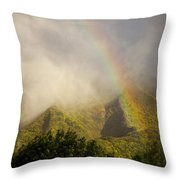 A Rainbow Shines Over The Rugged Throw Pillow