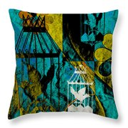 3 Caged Birds Grunge Throw Pillow