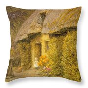 A Child At The Doorway Of A Thatched Cottage  Throw Pillow