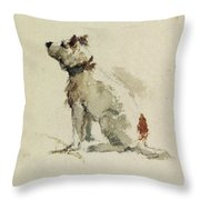 A Terrier - Sitting Facing Left Throw Pillow by Peter de Wint