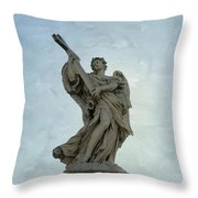 Angel With Cross. Ponte Sant'angelo. Rome Throw Pillow