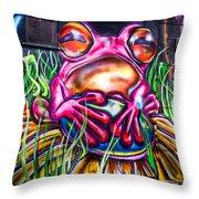 Atomic Frog Throw Pillow
