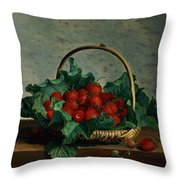 Basket Of Strawberries Throw Pillow