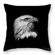 Black And White American Eagle Throw Pillow