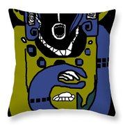 Blue Kachina Throw Pillow