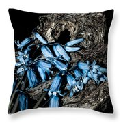 Bluebells And Log Throw Pillow