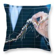 Businessman Writing Graph Of Stock Market  Throw Pillow by Setsiri Silapasuwanchai