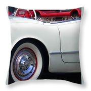 Classic White Corvette Throw Pillow
