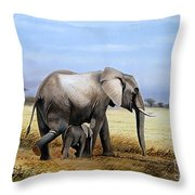 Elephant And Her Child Throw Pillow