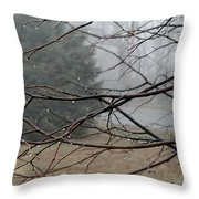 Fog Hangs Heavy Throw Pillow
