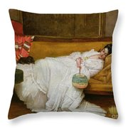 Girl In A White Dress Resting On A Sofa Throw Pillow
