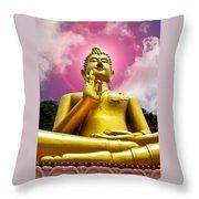 Golden Love Buddha Throw Pillow