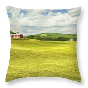 Hay Harvesting In Field Outside Red Barn Maine Throw Pillow
