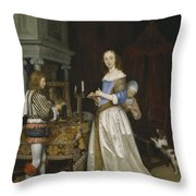 Lady At Her Toilette Throw Pillow by Gerard ter Borch