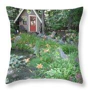 Magic Garden Pond Throw Pillow