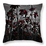 Mono Flowers Throw Pillow
