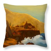 Gathering Of Flowers By The Fishing Cabin Throw Pillow