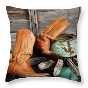 Old Cowboy Boots Throw Pillow