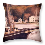Old Ship Docked On The River Throw Pillow