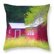 Peaceful Country Barn And Meadow Throw Pillow