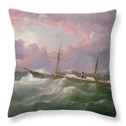 Portrait Of The Lsis A Steam And Sail Ship Throw Pillow