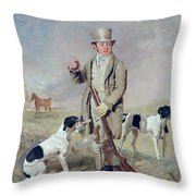 Richard Prince With Damon - The Late Colonel Mellish's Pointer Throw Pillow by Benjamin Marshall
