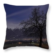 Tree And Snow-capped Mountain Throw Pillow