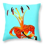Turquoise And Tiger Lily Throw Pillow