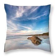 Welsh Coast - Porth Colmon Throw Pillow