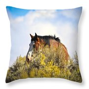 Wild Horse In The Sage Throw Pillow